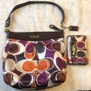 Coach Ashley Scarf Print hippie crossbody  Bag